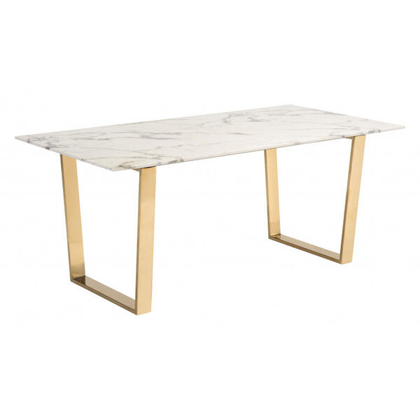Atlas Dining Table White & Gold