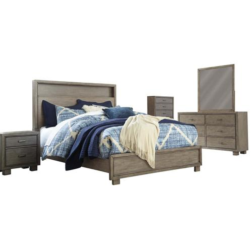 6 Piece Set (3 Piece Queen Bed, Dresser, Mirror and Nightstand)