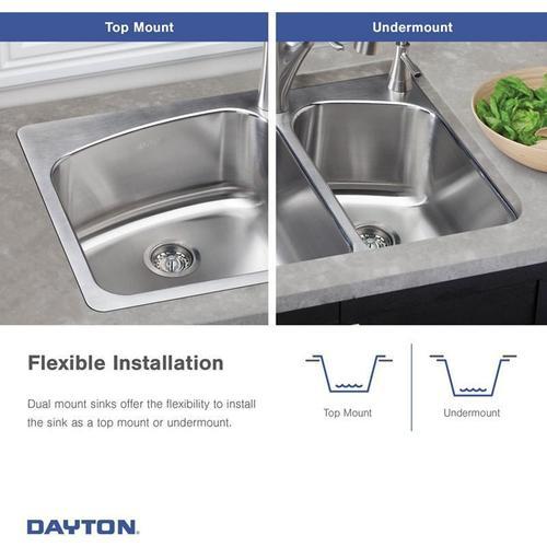 "Elkay - Dayton Stainless Steel 33"" x 22"" x 8"", 60/40 Double Bowl Dual Mount Sink"