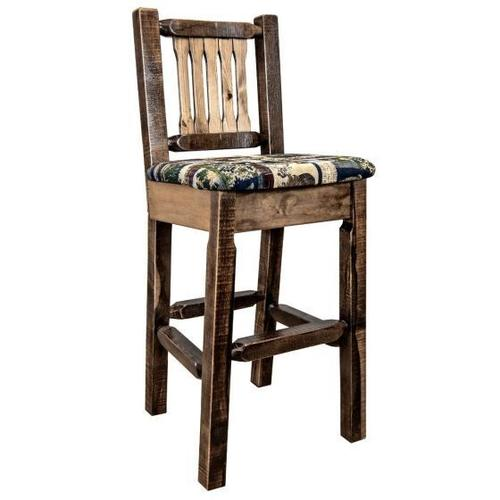 Montana Woodworks - Homestead Collection Barstool with Back, Stain and Lacquer Finish