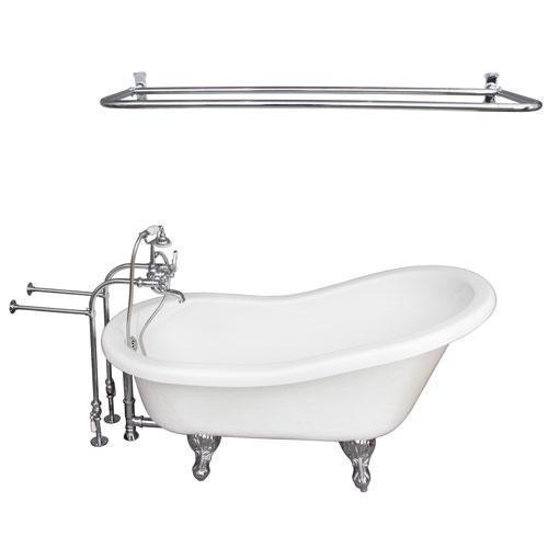 "Imogene 67"" Acrylic Slipper Tub Kit in White - Polished Chrome Accessories"