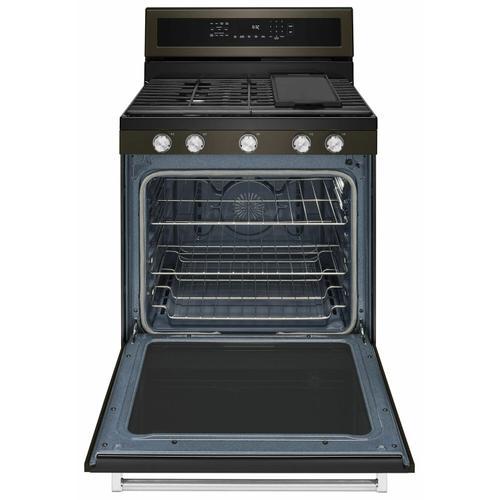 KitchenAid - 30-Inch 5-Burner Gas Convection Range - Black Stainless Steel with PrintShield™ Finish