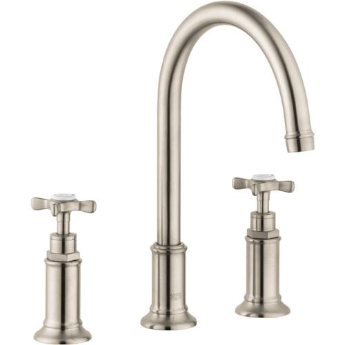 AXOR - Brushed Nickel Widespread Faucet 180 with Cross Handles and Pop-Up Drain, 1.2 GPM