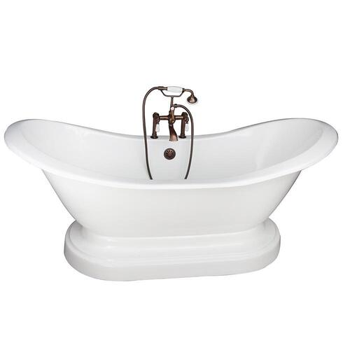 "Marshall 71"" Cast Iron Double Slipper Tub Kit - Oil Rubbed Bronze Accessories"
