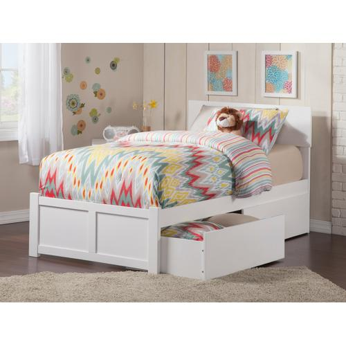 Orlando Twin Flat Panel Foot Board with 2 Urban Bed Drawers White
