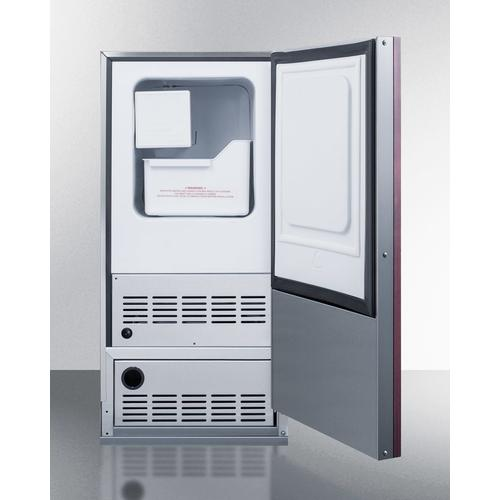 Built-in Undercounter No Drain Crescent Icemaker With Panel-ready Door and Stainless Steel Wrapped Cabinet
