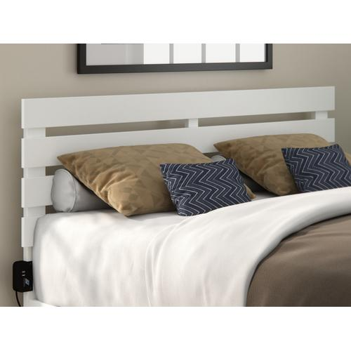Atlantic Furniture - Oxford Queen Headboard with USB Turbo Charger in White