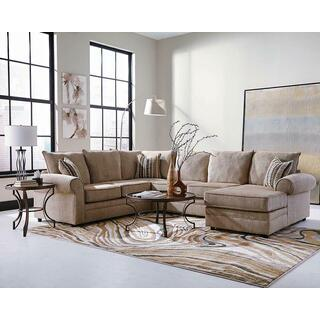 See Details - Fairhaven Transitional Cream Herringbone Sectional