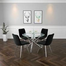 See Details - Solara II/Marlo 5pc Dining Set, Chrome/Black