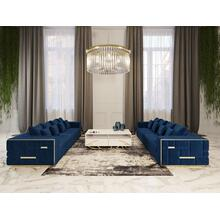 View Product - Divani Casa Mobray - Glam Blue & Gold Fabric Sofa