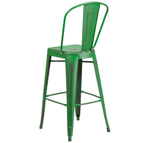 30'' High Distressed Green Metal Indoor-Outdoor Barstool with Back