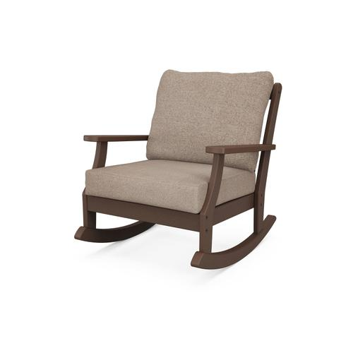 Mahogany & Spiced Burlap Braxton Deep Seating Rocking Chair