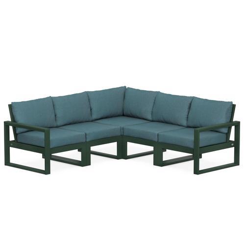 Polywood Furnishings - EDGE 5-Piece Modular Deep Seating Set in Green / Ocean Teal