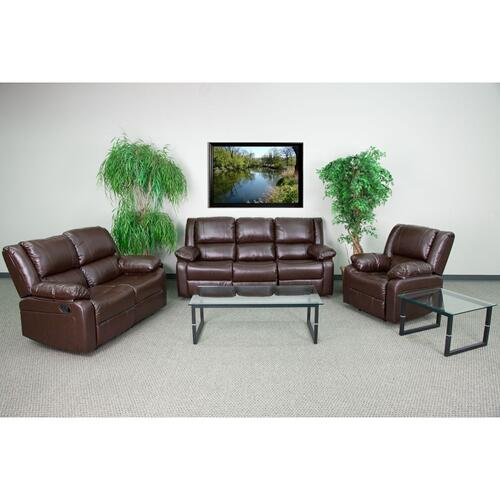 Alamont Furniture - Brown Leather Reclining Sofa Set