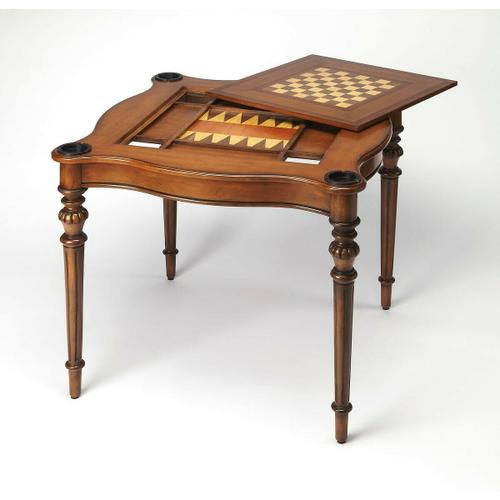 Pull up some stools and play a variety of games on this stylish table that is veneered with antique cherry finish. The top inset has a game board for chess and checkers. Remove the insert altogether and the well(beneath the inset) is a back-gammon game bo