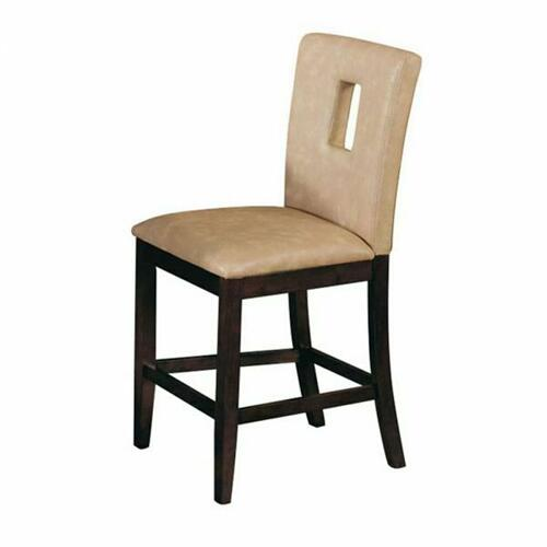 ACME Danville Counter Height Chair (Set-2) - 16777 - Cream PU & Walnut