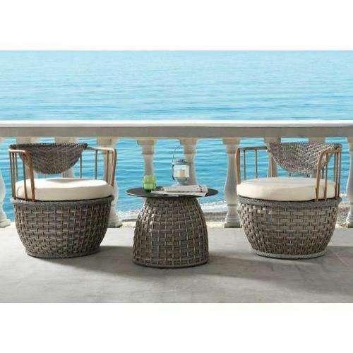ACME Eskil Patio Table - 45050 - 2-Tone Gray Wicker