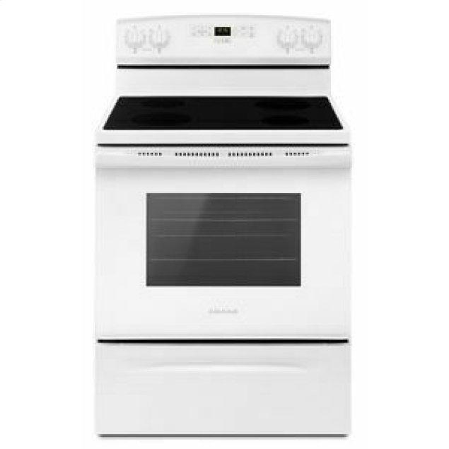Amana 30-inch Electric Range with Extra-Large Oven Window - White