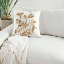 "Sofia Pn082 Ivory Gold 18"" X 18"" Throw Pillow"