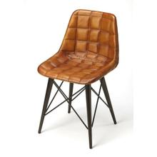 See Details - Mid-century modern with a symetrical leather pattern; this go-everywhere molded chair form gets an upgrade with the compliment of Warm Brown quilted leather and black metal frame. The soft taper metal legs bring a bit of retro modern to the overall style. Set this chair at a table or in a corner; it will not go unnoticed.