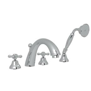 Verona 4-Hole Deck Mount C-Spout Tub Filler with Handshower - Polished Chrome with Cross Handle