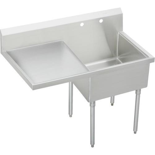 """Elkay Sturdibilt Stainless Steel 55-1/2"""" x 27-1/2"""" x 14"""" Floor Mount, Single Compartment Scullery Sink w/ Drainboard"""
