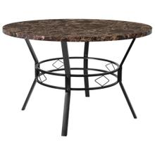 "47"" Round Dining Table in Espresso Marble-Like Finish"