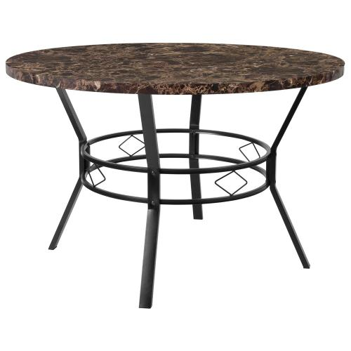 """47"""" Round Dining Table in Espresso Marble-Like Finish"""