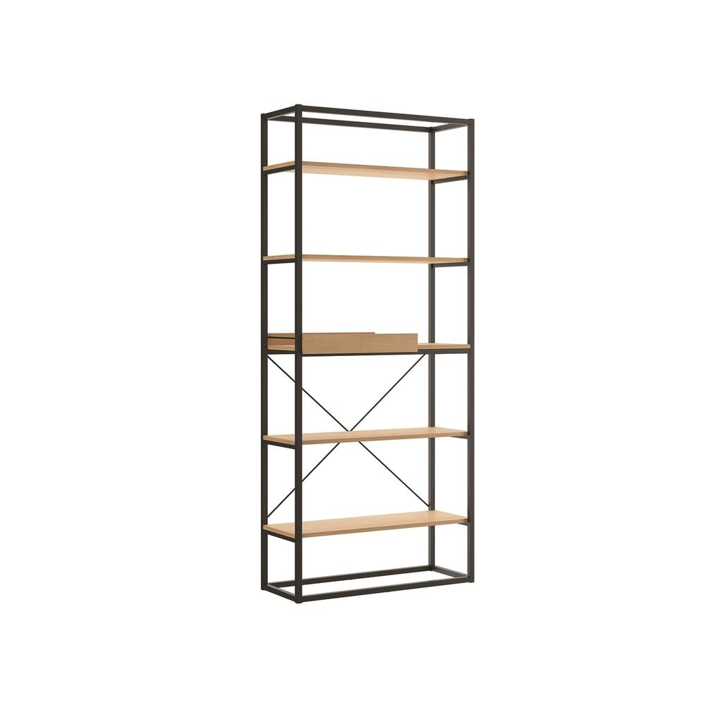 The Noa Bookcase Part Of Our Kd Collection In Birch Melamine With Black Metal Painted Frame And Removable Tray.