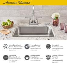 """See Details - Portsmouth 23x18"""" ADA Single Bowl Stainless Steel Kitchen Sink  American Standard - Stainless Steel"""
