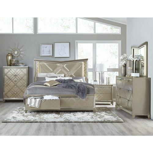 California King Platform Bed with LED Lighting and Footboard Storage