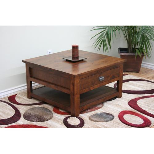 A-R252 Rustic Alder Square Coffee Table