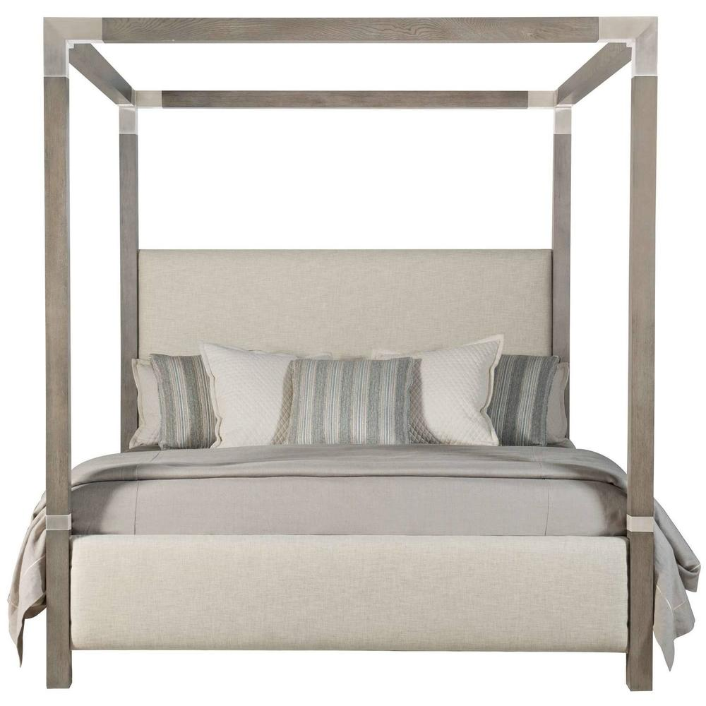 King Palma Upholstered Canopy Bed in Rustic Gray