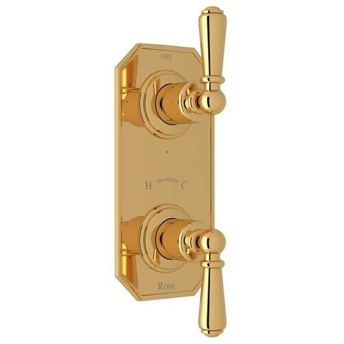 "English Gold Perrin & Rowe Edwardian 1/2"" Thermostatic/Diverter Control Trim with Edwardian Metal Lever"
