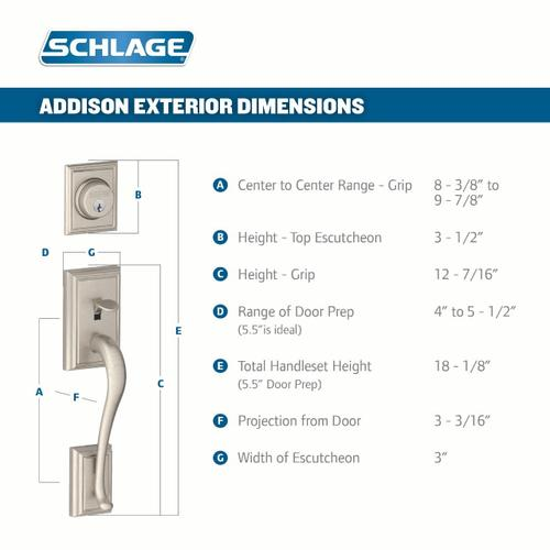 Addison Double Cylinder Handleset and Accent Lever - Bright Chrome