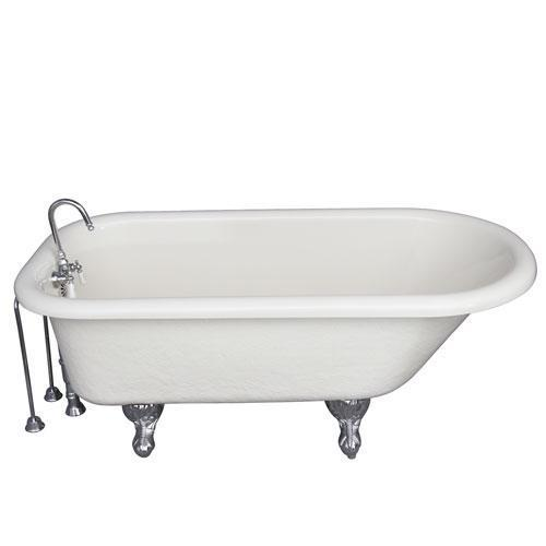 "Andover 60"" Acrylic Roll Top Tub Kit in Bisque - Polished Chrome Accessories"