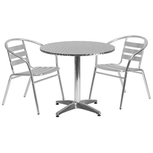 31.5'' Round Aluminum Indoor-Outdoor Table Set with 2 Slat Back Chairs