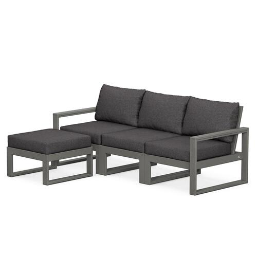 Polywood Furnishings - EDGE 4-Piece Modular Deep Seating Set with Ottoman in Slate Grey / Ash Charcoal