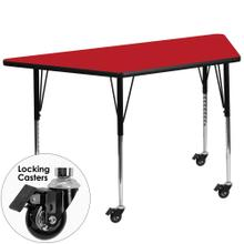 Mobile 25''W x 45''L Trapezoid Red HP Laminate Activity Table - Standard Height Adjustable Legs