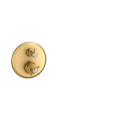 Brushed Brass Thermostat for concealed installation with cross handle and shut-off valve