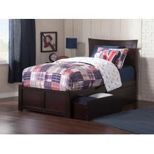 Metro Twin Flat Panel Foot Board with 2 Urban Bed Drawers Espresso