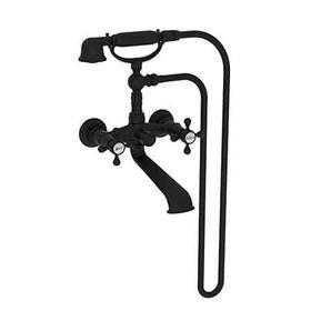 Flat Black Exposed Tub & Hand Shower Set - Wall Mount
