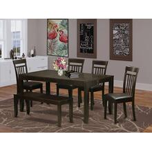 6 PC Dining room set with bench-Table with Leaf and 4 Chairs for Dining room plus Bench