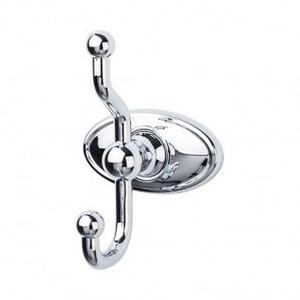 Edwardian Bath Double Hook Oval Backplate - Polished Chrome