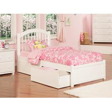 Windsor Twin Flat Panel Foot Board with 2 Urban Bed Drawers White