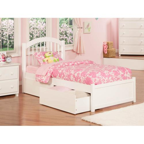 Atlantic Furniture - Windsor Twin Flat Panel Foot Board with 2 Urban Bed Drawers White