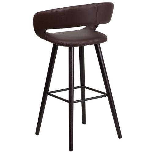 29'' High Contemporary Cappuccino Wood Barstool in Brown Vinyl