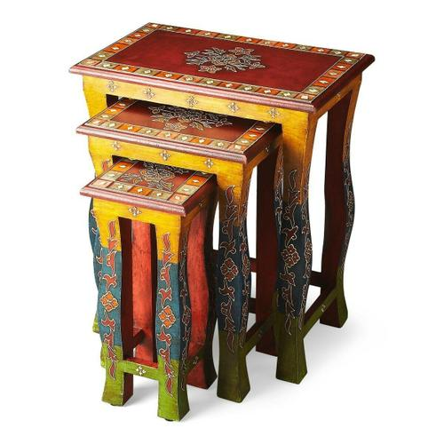 Butler Specialty Company - Vivid, vibrant colors with decorative overlays -- all entirely hand painted by a highly skilled artisan -- ensure these Nesting Tables stands out as original art. Crafted from recycled wood solids.
