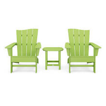 View Product - Wave 3-Piece Adirondack Chair Set in Lime