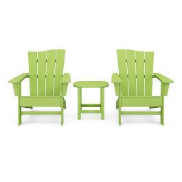 Polywood Furnishings - Wave 3-Piece Adirondack Chair Set in Lime